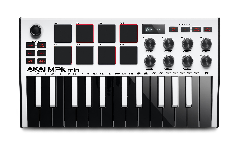 Akai MPK mini mk3 MIDI Keyboard - Hvid