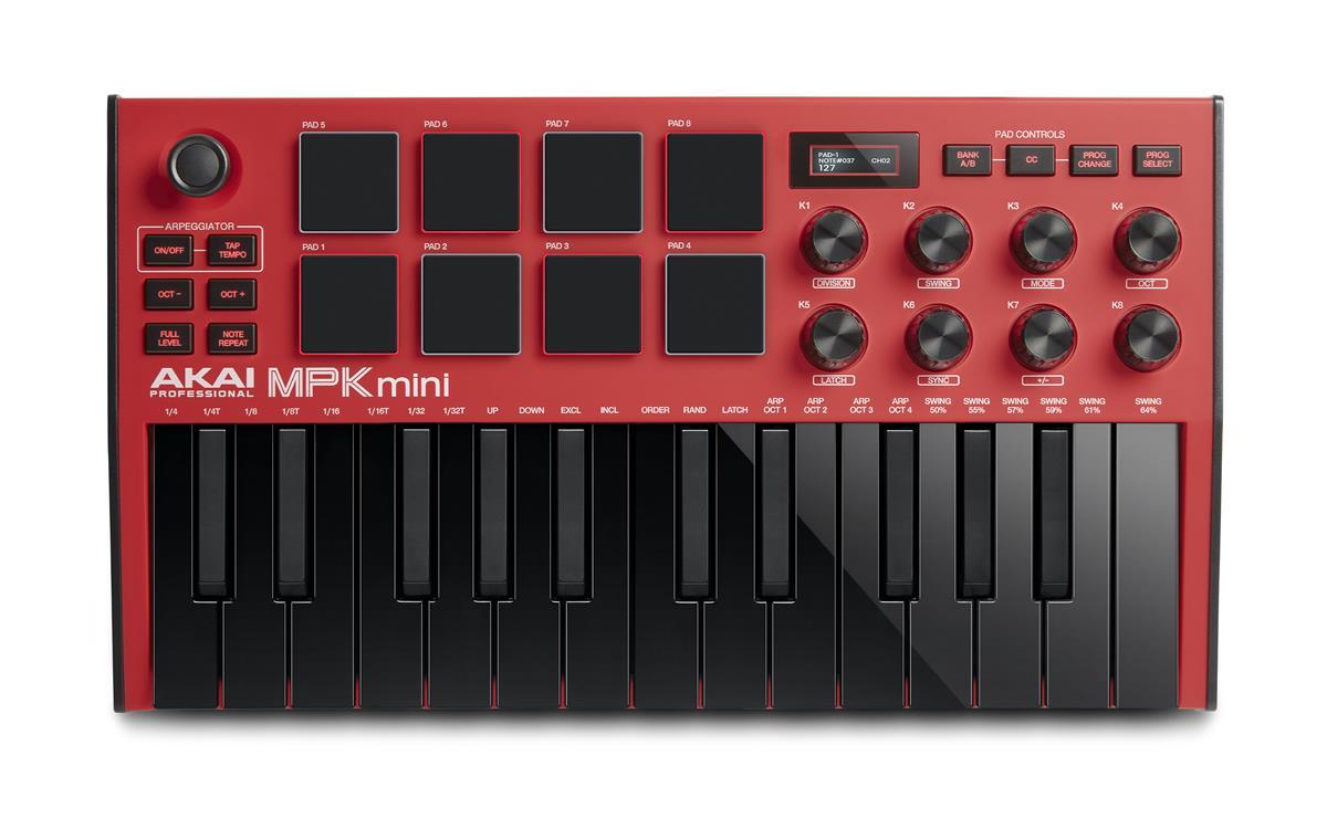Akai MPK mini mk3 MIDI Keyboard - Rød